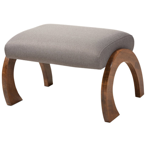 Baxton Studio Sandrine Modern Fabric Walnut Brown Wood Ottoman