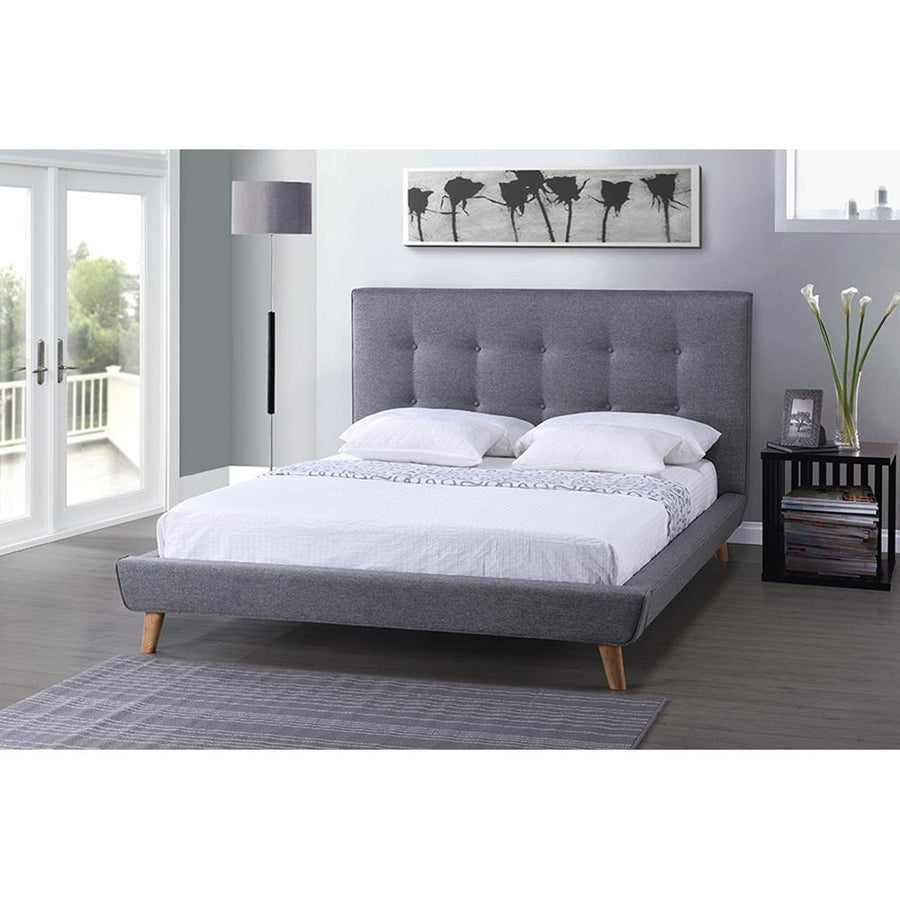 Jonesy Scandinavian Grey Fabric Upholstered Platform Bed