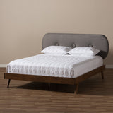 Baxton Studio Penelope Solid Walnut Wood Fabric Upholstered Platform Bed