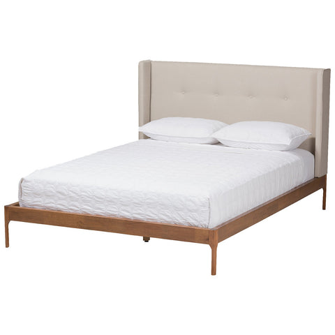 Baxton Studio Brooklyn Platform Bed in Light Beige