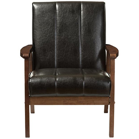 Nikko Mid-century Modern Faux Leather Wooden Lounge Chair