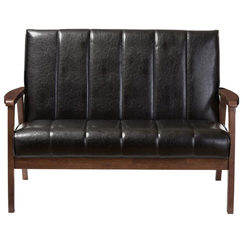 Nikko Mid-century Modern Faux Leather Wooden 2-Seater Loveseat