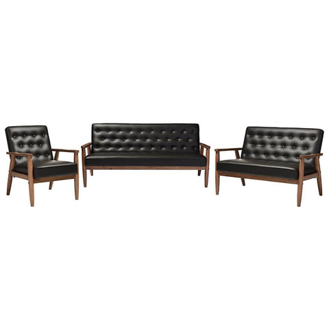 Sorrento Faux Leather Upholstered Wooden 3-Piece Living room Set