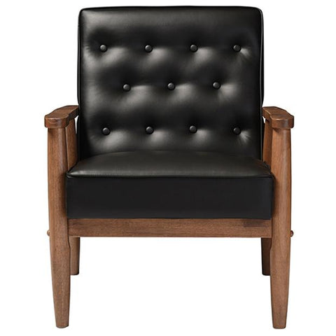 Sorrento Faux Leather Upholstered Wooden Lounge Chair
