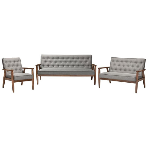 Sorrento Grey Fabric Upholstered Wooden 3-Piece Living room Set