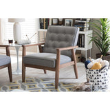 Sorrento Mid-century Retro Modern Grey Fabric Upholstered Wooden Lounge Chair