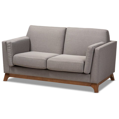 Baxton Studio Sava Mid-Century Modern Grey Fabric Walnut Wood 2-Seater Loveseat