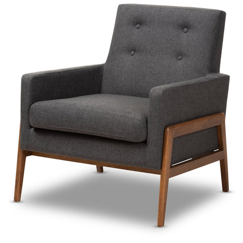 Baxton Studio Perris Mid-Century Modern Walnut Wood Lounge Chair