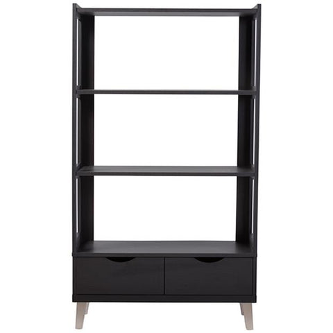 Kalien Dark Brown Wood Leaning Bookcase with Display Shelves and 2-Drawer