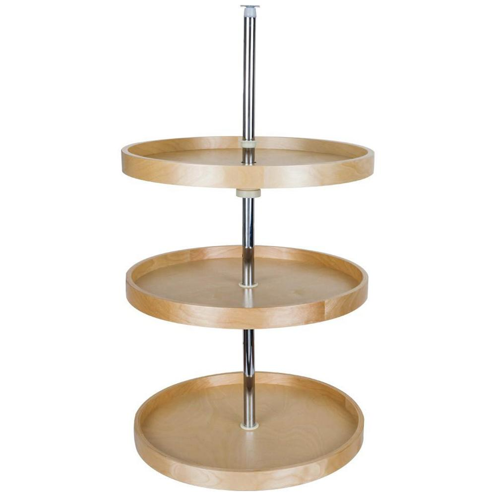 Round Banded Lazy Susan Three Shelf Set with Twist and Lock Pole