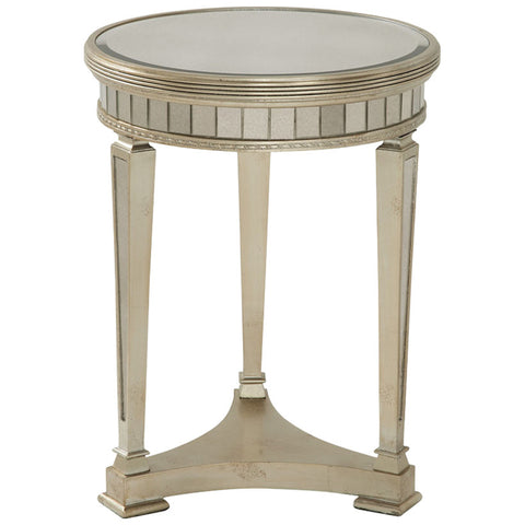 Borghese Round End Table in Antique Mirror and Silver Leaf