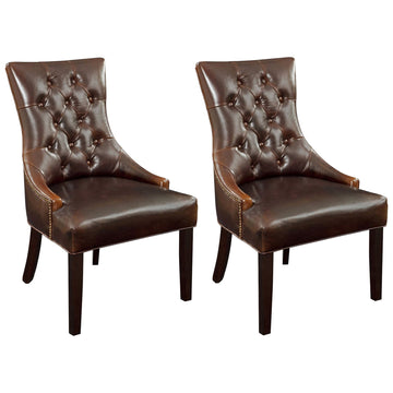 Fortnum Parson Chairs, Brown Leather, Set of 2
