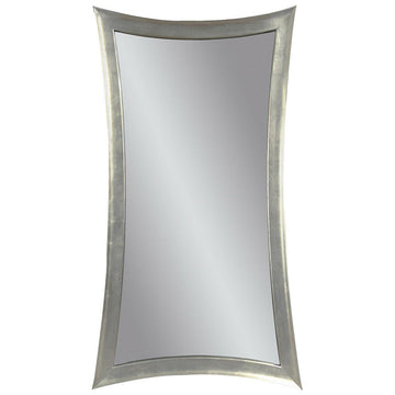 Hour Glass Shaped Leaner Mirror, Silver Leaf