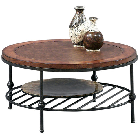 Bentley Round Cocktail Table in Tobacco and Pewter