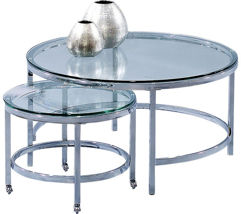 Patinoire Round Cocktail Table in Polished Chrome, Set of 2