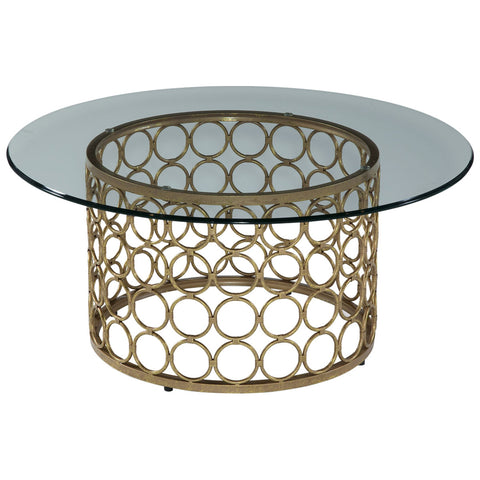 Carnaby Round Cocktail Table in Lux Gold and Gold Leaf