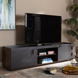Baxton Studio Rikke Two-Tone Gray and Walnut Wood 2-Drawer TV Stand