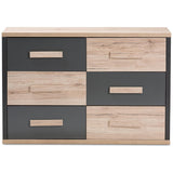 Baxton Studio Pandora Dark Grey and Light Brown Two-Tone 6-Drawer Dresser