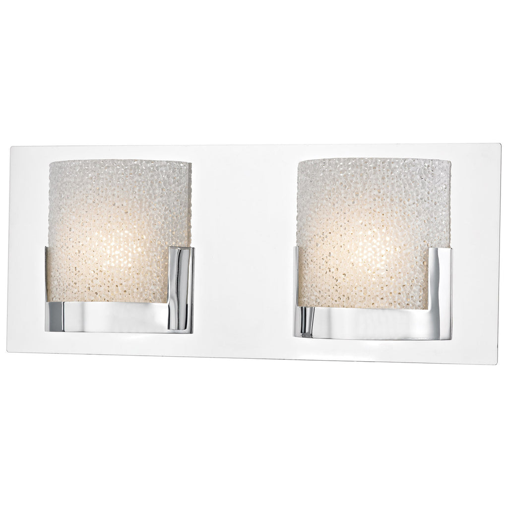 Ophelia 2-Light LED Vanity in Chrome and Clear Glass