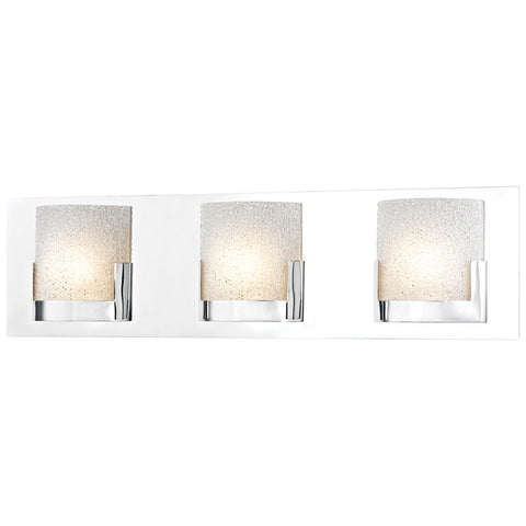 Ophelia 3-Light LED Vanity in Chrome and Clear Glass