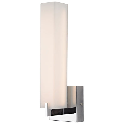 Moderno LED 1-Light Wall Sconce in Chrome and White Opal Glass