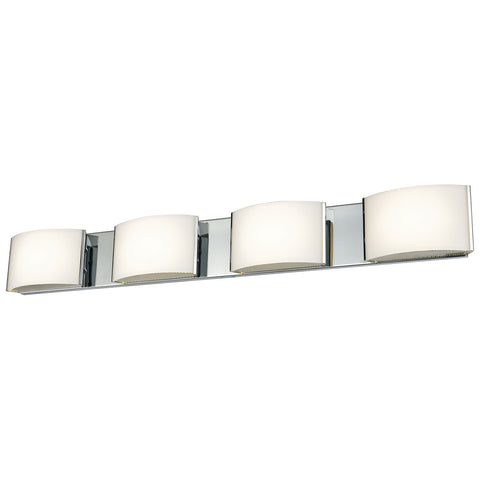 Pandora LED 4-Light LED Vanity in Chrome and Opal Glass