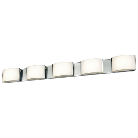 Pandora LED 5-Light LED Vanity in Chrome and Opal Glass