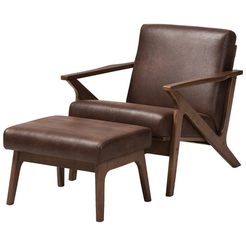 Baxton Studio Bianca Lounge Chair and Ottoman Set in Dark Brown