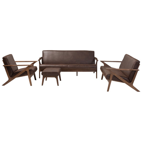 Baxton Studio Bianca Livingroom Sofa Set in Dark Brown