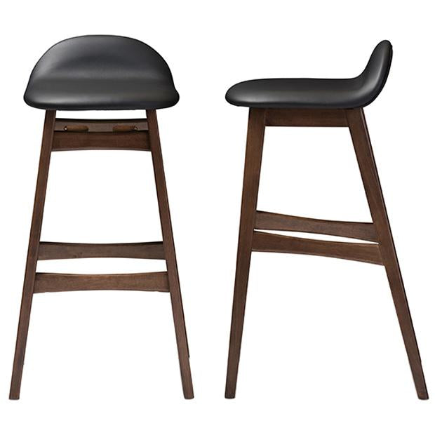 Bloom Upholstered Walnut Wood Finishing 30-Inches Bar Stool, Set of 2