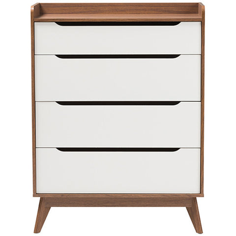 Brighton 4-Drawer Storage Chest in White and Walnut