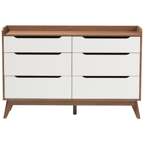 Brighton 6-Drawer Storage Dresser in White and Walnut