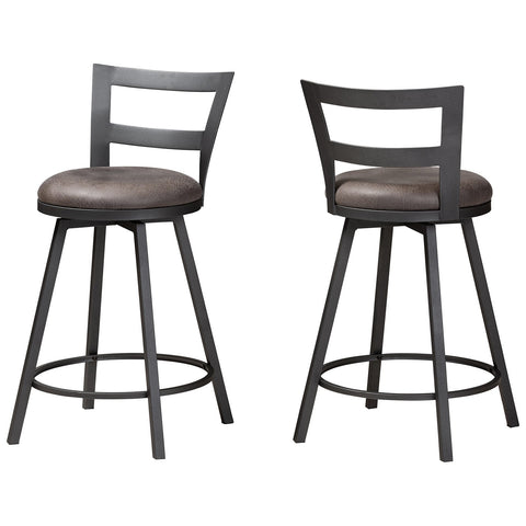 Baxton Studio Arjean Rustic and Industrial Grey Fabric Counter Stool Set of 2