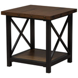 Baxton Studio Herzen Black Textured Finished Metal Distressed Wood End Table