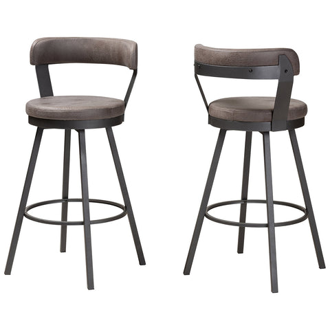 Baxton Studio Arcene Rustic and Industrial Grey Fabric Counter Stool Set of 2