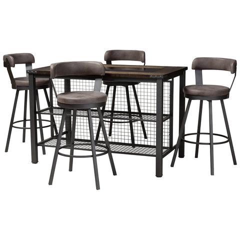 Baxton Studio Arcene Rustic and Industrial Antique Grey Fabric 5-Piece Pub Set