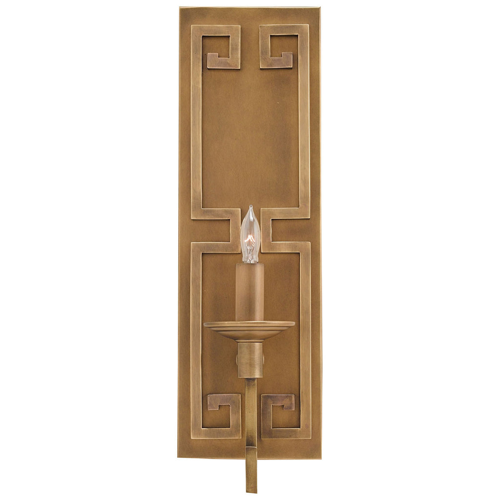 Greek Key Wall Sconce with Antique Brass Finish