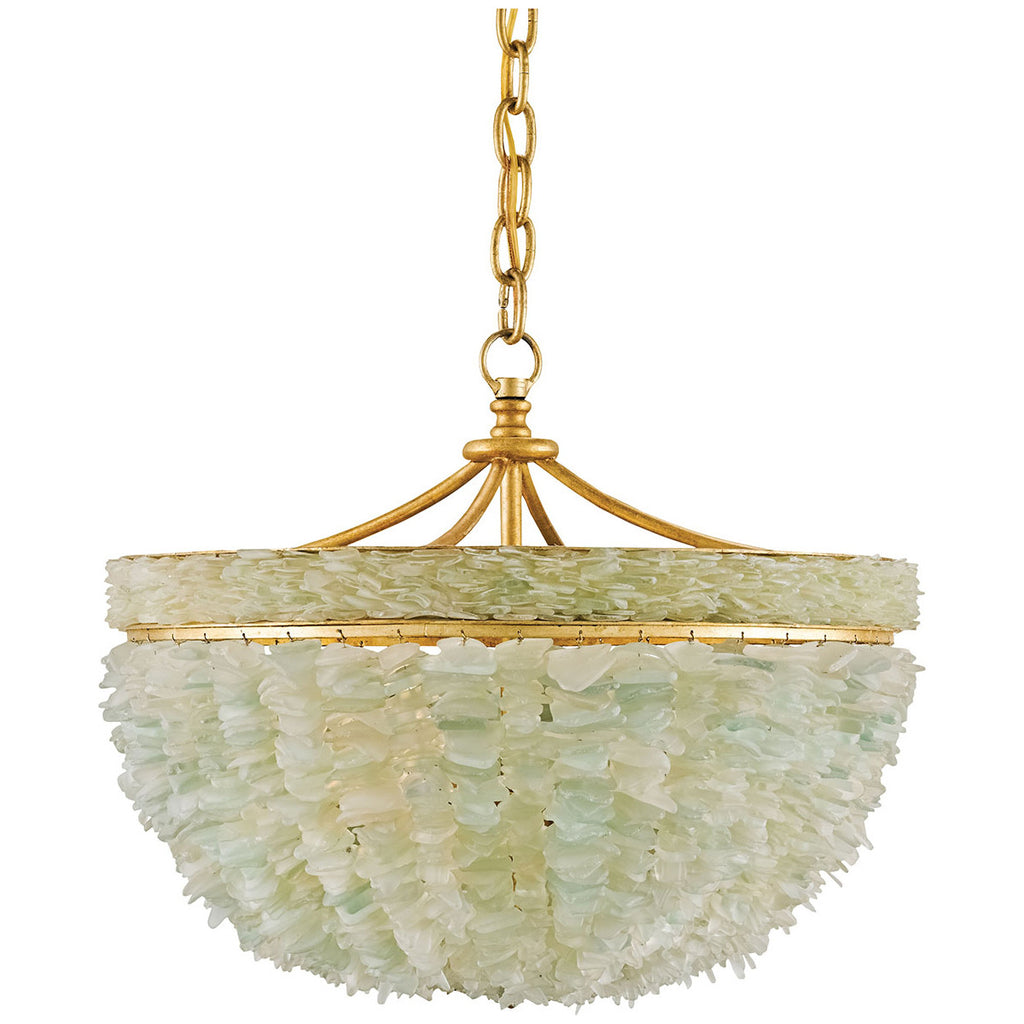 Bayou Gold Leaf Seaglass Chandelier