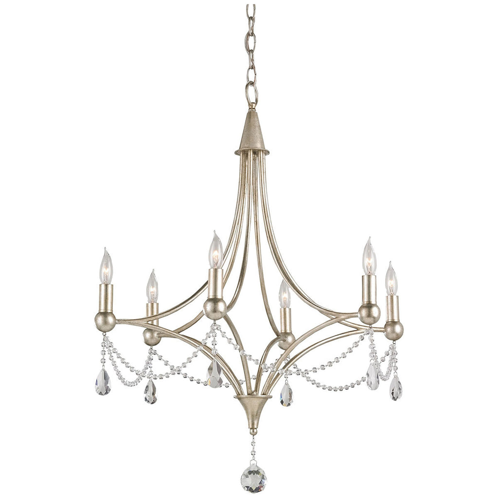 Etiquette Chinois Antique Silver Leaf Chandelier