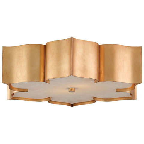 Grand Lotus Antique Gold Leaf Flush Mount