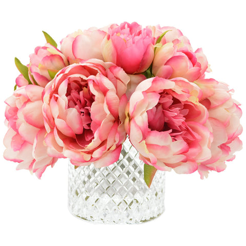 Peony and Fuchsia with Water in Glass Vase
