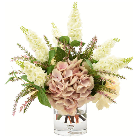 Hydrangea and Lilac in Glass Vase