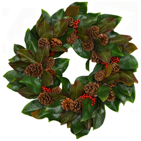 28 in Magnolia Wreath With Berries and Pinecones