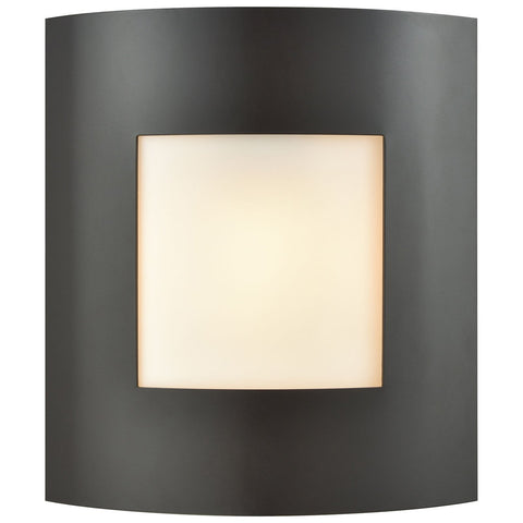 Bella 1-Light Outdoor Wall Sconce in Oil Rubbed Bronze with White Glass