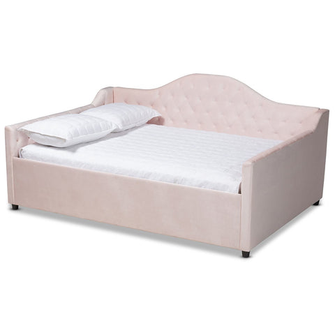 Baxton Studio Perry Light Pink Velvet Fabric Button Tufted Full Daybed