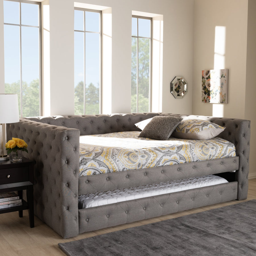 Baxton Studio Anabella Modern Grey Fabric Daybed with Trundle