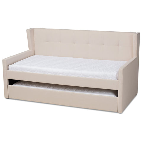 Baxton Studio Giorgia Modern Contemporary Fabric Twin Daybed with Trundle