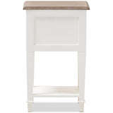 Dauphine Weathered Oak and White Wash Nightstand
