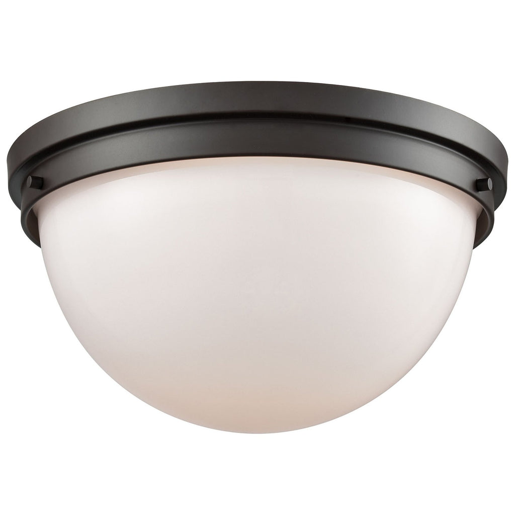 Beckett 2-Light Flush Mount in Oil Rubbed Bronze with Opal White Glass