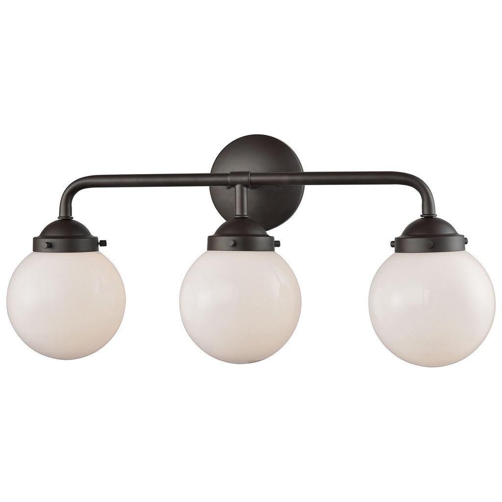 Beckett 3-Light Bath in Oil Rubbed Bronze and Opal White Glass